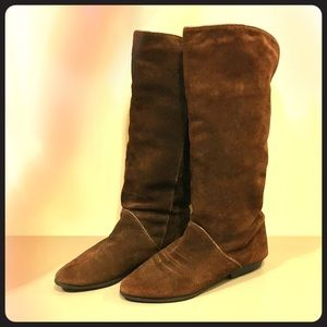 🍄Vintage chocolate suede floppy boots